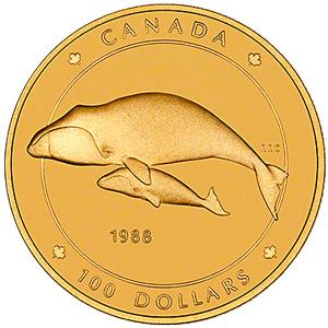 カナダ100ドル金貨(かなだひゃくどるきんか):裏